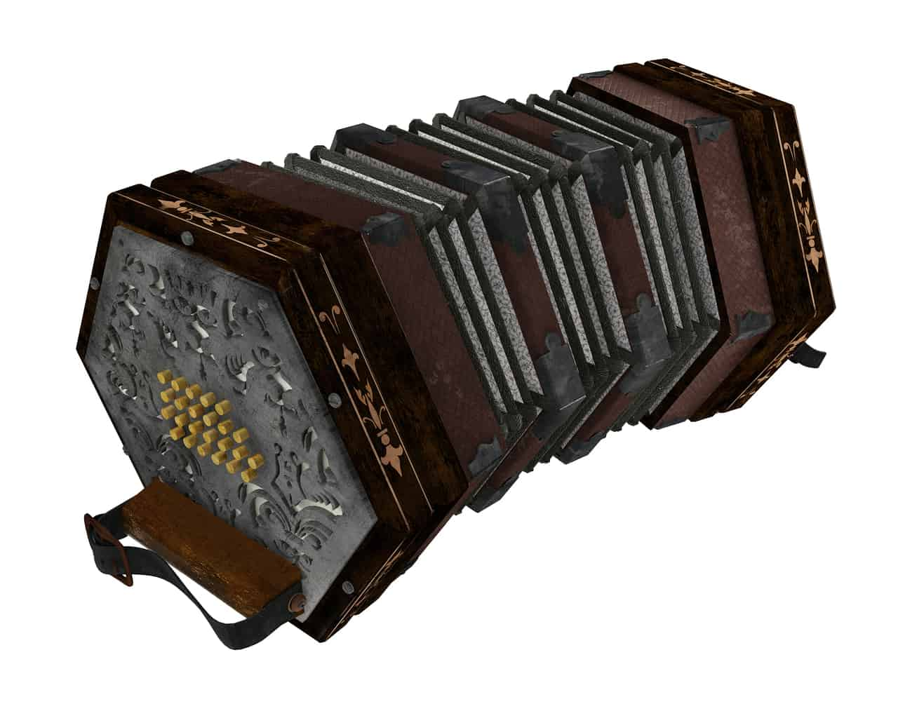 concertina isolated at the white background.Music instrument